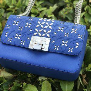 MK MD Tina Stud Clutch Bag Crossody Perforatedblue